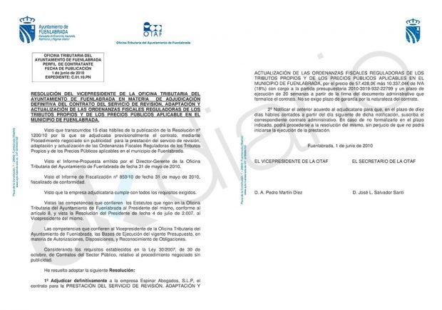 Contrato de adjudicación de la revisión fiscal del Ayuntamiento de Fuenlabrada al bufete de Ramón Espinar Gallego.