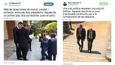 Los tuits de Pedro Sánchez y de La Moncloa escritos en catalán con motivo de la visita de Quim Torra