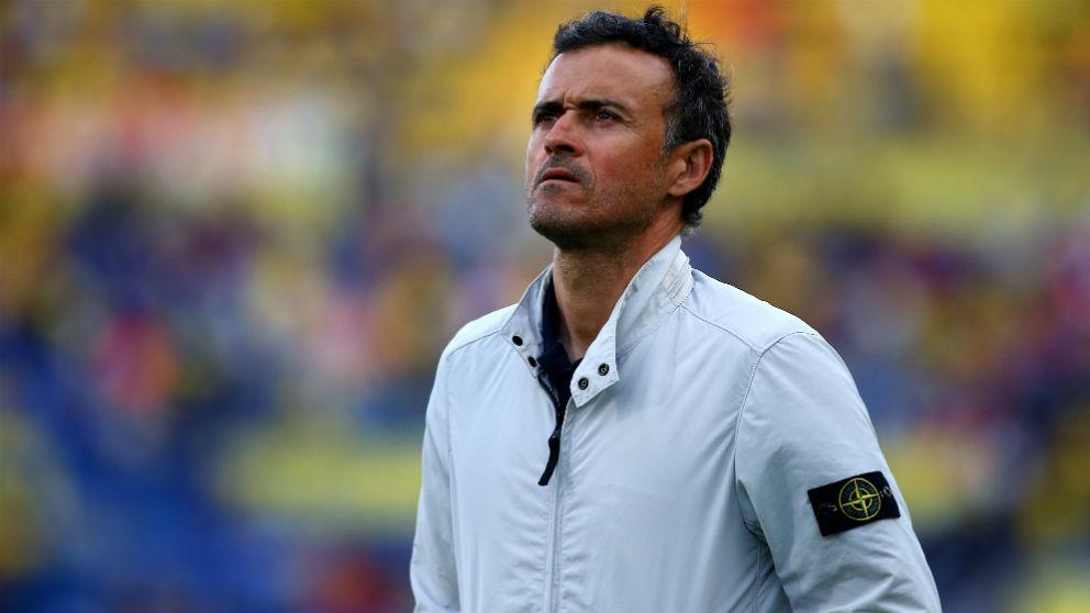 Luis Enrique, durante un partido como entrenador del Barcelona. (Getty)