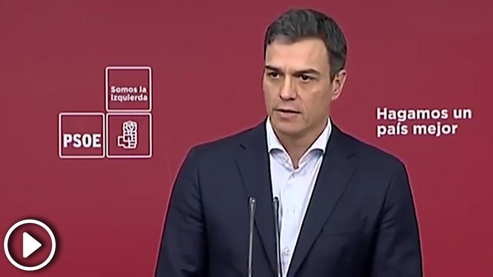 El presidente del Gobierno, Pedro Sánchez, en la rueda de prensa en Ferraz del pasado 21 de mayo
