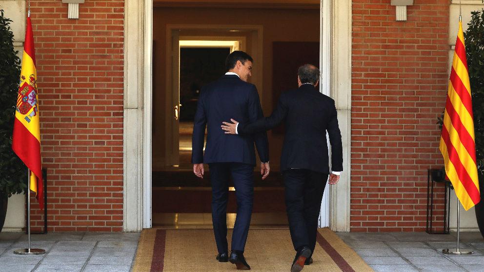 Pedro Sánchez y Quim Torra, en La Moncloa.