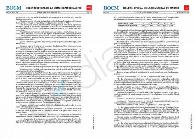 Publicación en el BOCM de la modificación de la normativa fiscal en el Ayuntamiento de Fuenlabrada (28 de diciembre de 2015).