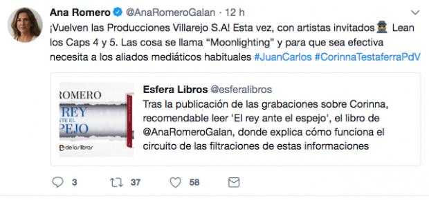 """Corinna acusa a Ana Romero de ser """"agente doble"""" del CNI"""