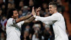Cristiano Ronaldo y Marcelo celebran un gol con el Real Madrid. (Getty)