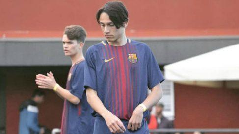 Joel López, durante un partido con el Barça. (Instagram)