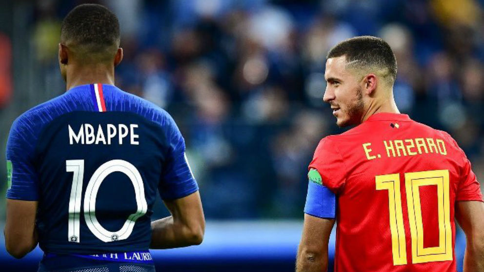 Kylian Mbappé y Eden Hazard durante el Francia – Bélgica del Mundial 2018. (@KMbappe)