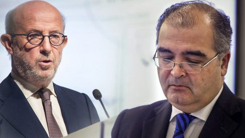 Emilio Saracho, a la izquierda, y Ángel Ron, ex presidentes del Popular.