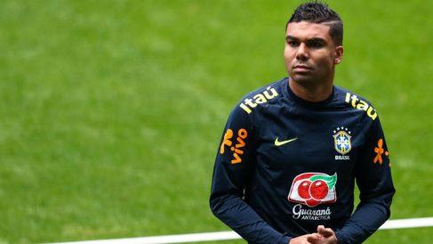 Casemiro, durante un entrenamiento con Brasil. (Getty Images)