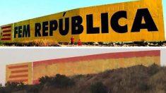 El mural situado en Bellpuig (Lérida) repitado por los constitucionalistas (Foto: 'Elcatalán.es')