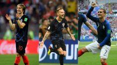 Luka Modric, Ivan Rakitic y Antoine Griezmann.