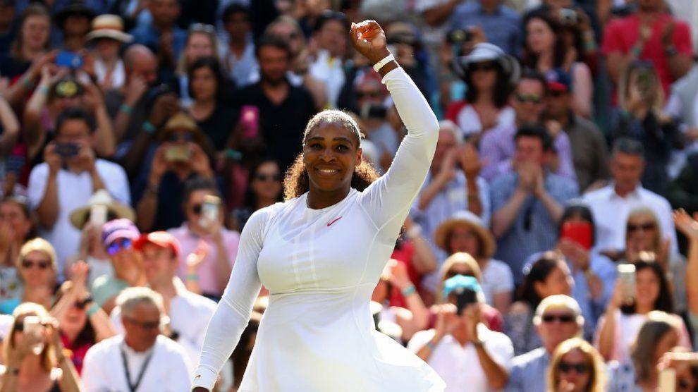 Serena Williams celebra su victoria ante Goerges. (Getty)