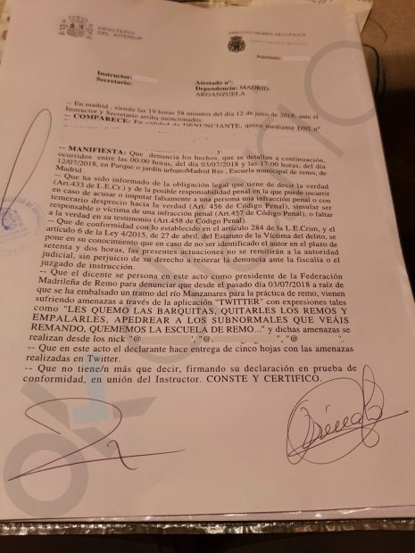"""Amenazan a los remeros que piden a Carmena entrenar en el Manzanares: """"Empalemos a estos subnormales"""""""