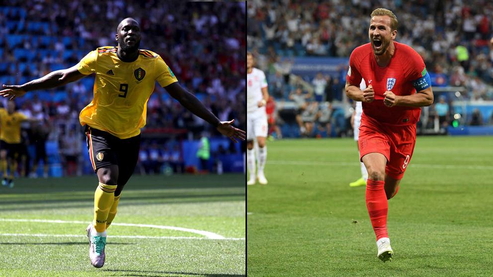 Romelu Lukaku y Harry Kane celebran un gol. (Getty)