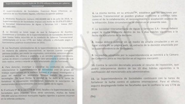 Documento de la Superintendencias de Sociedades de Colombia sobre Inassa.