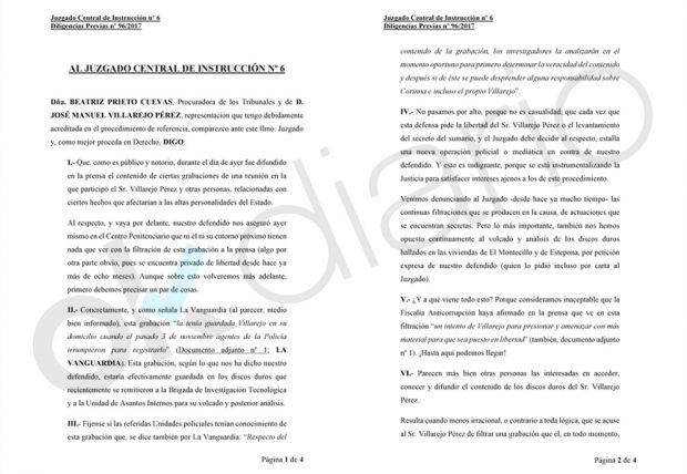 Escrito presentado por la defensa del comisario José Villarejo.