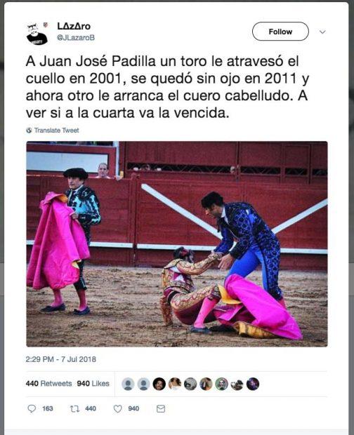"Un animalista desea en Twitter la muerte del torero Padilla: ""A ver si a la cuarta va la vencida"""