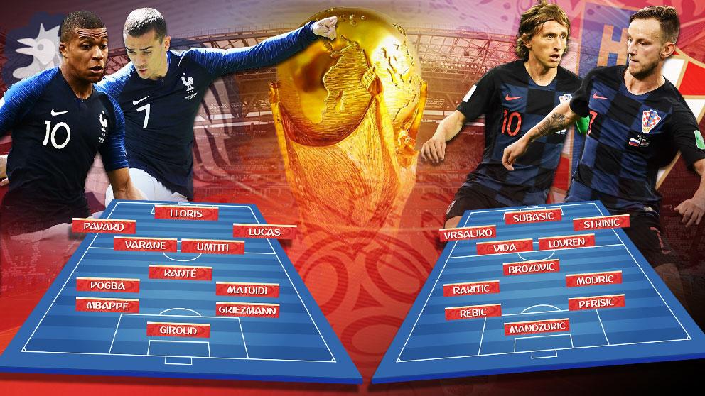 Francia y Croacia disputan la final del Mundial de Rusia 2018.