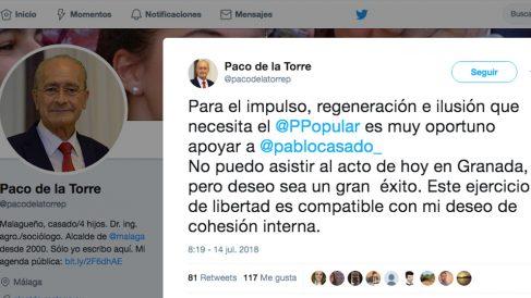 Tuit de Francisco de la Torre en apoyo a Pablo Casado.
