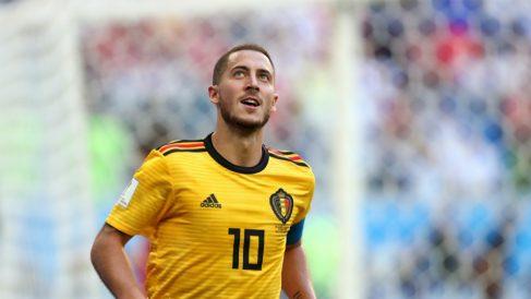 Hazard celebra su gol a Inglaterra. (Getty)