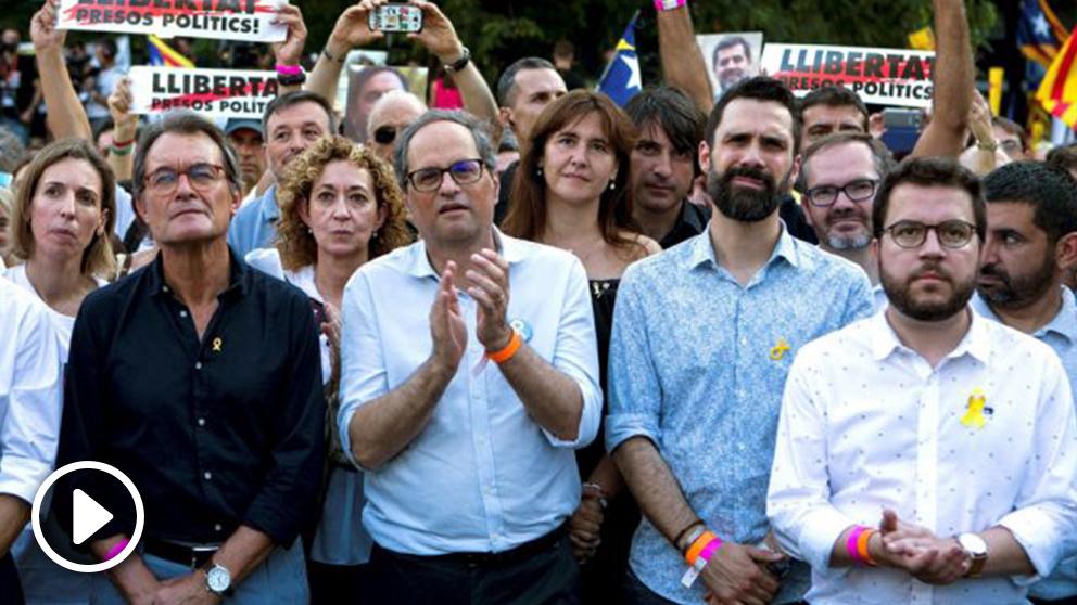 Quim Torra lidera la manifestación separatista (Foto: EFE)