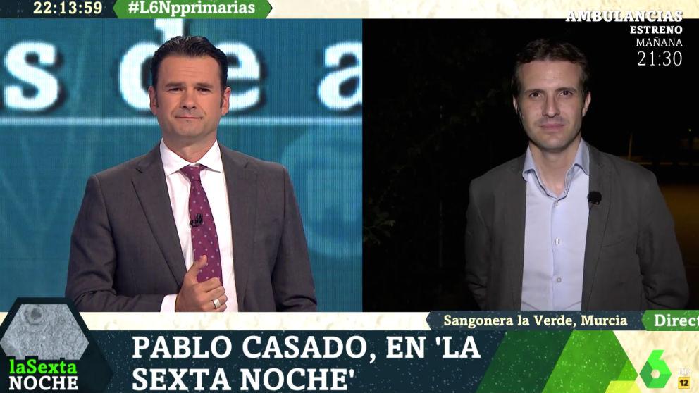 El candidato a la presidencia del PP Pablo Casado, este sábado en La Sexta Noche.