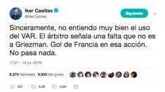 El tuit de Iker Casillas en la final del Mundial 2018.