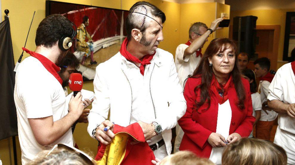 Juan José Padilla en el homenaje que recibió el pasado viernes en un hotel de Pamplona (Foto: EFE).