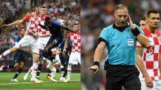 Pitana señaló el penalti de Perisic por mano tras aviso del VAR. (Getty)