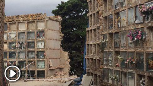 Derrumbe de nichos en el cementerio de Montjuic