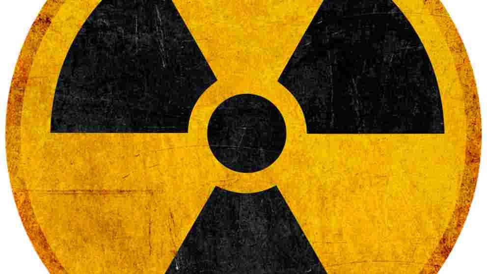 El símbolo de la radioactividad.