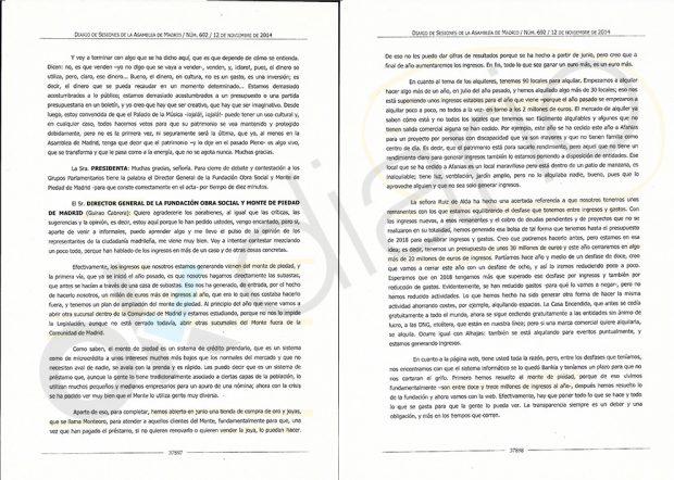 Intervención de José Guirao en la Asamblea de Madrid.