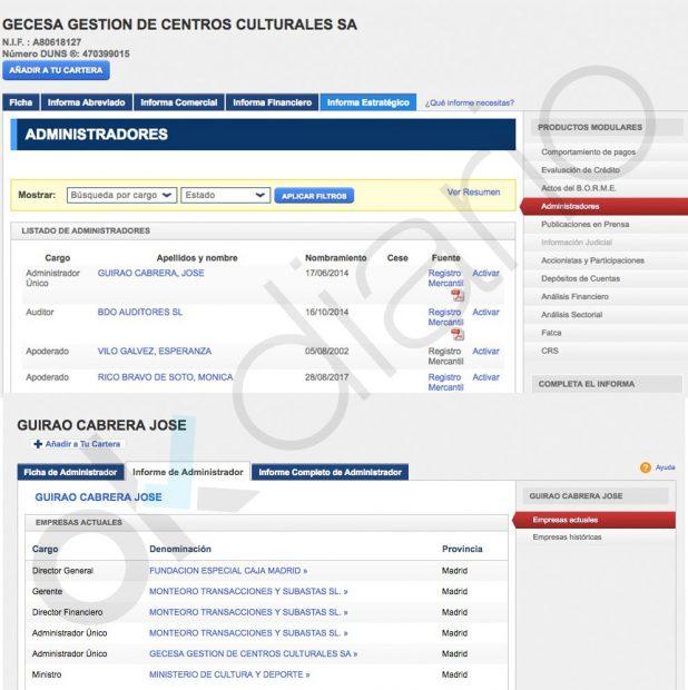 Los cargos de José Guirao en el Registro mercantil.