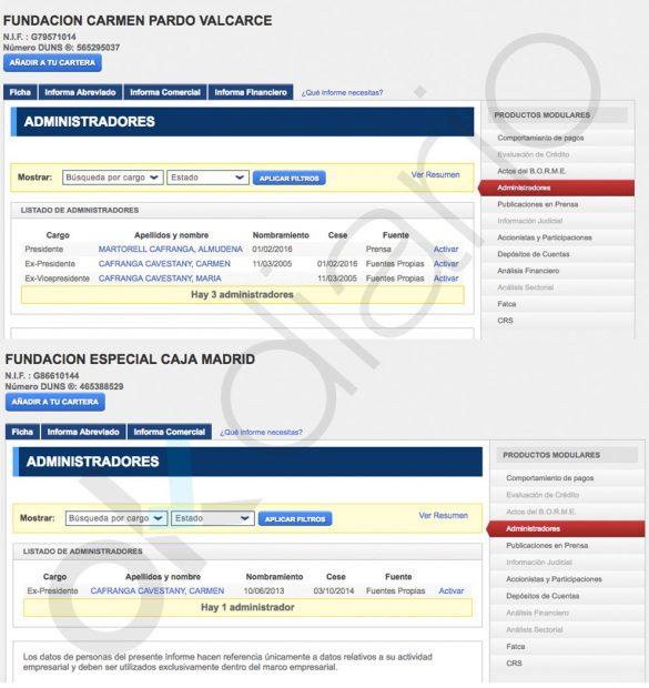 Cargos de Carmen Cafranga en el Registro mercantil.