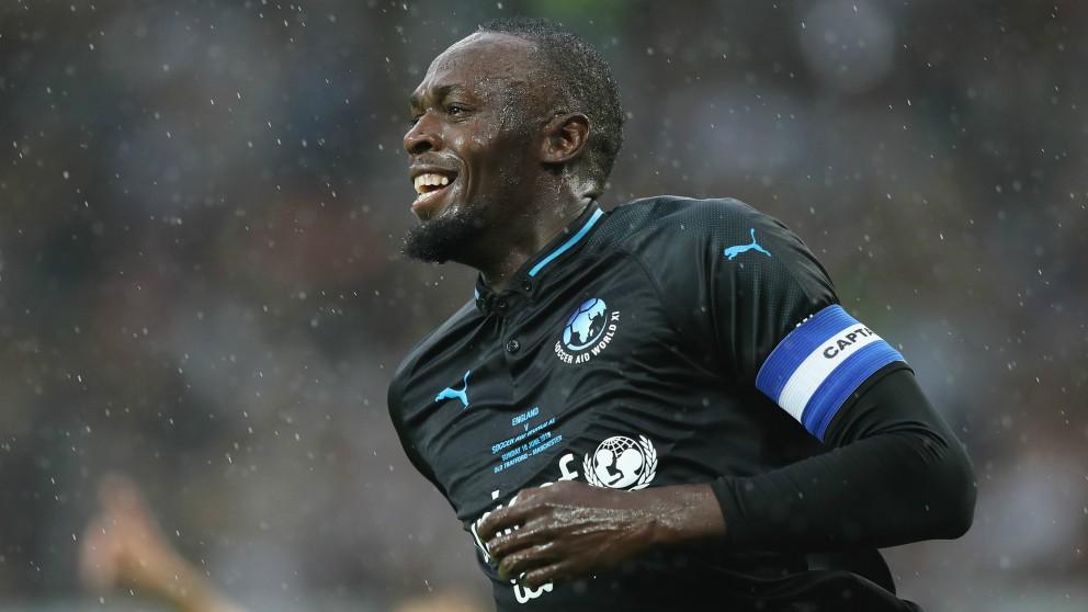 Usain Bolt, en un partido benéfico. (Getty)