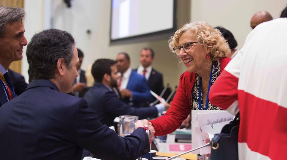 Manuela Carmena recientemente en la ONU, en Nueva York. (Foto. Madrid)
