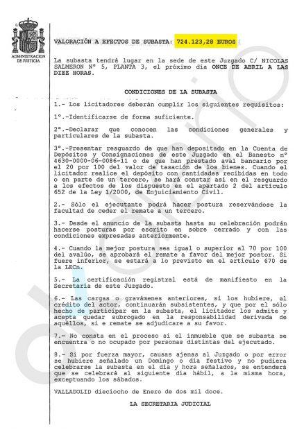 Edicto del Juzgado sacando a subasta pública el piso y el garaje por 724.123 euros.