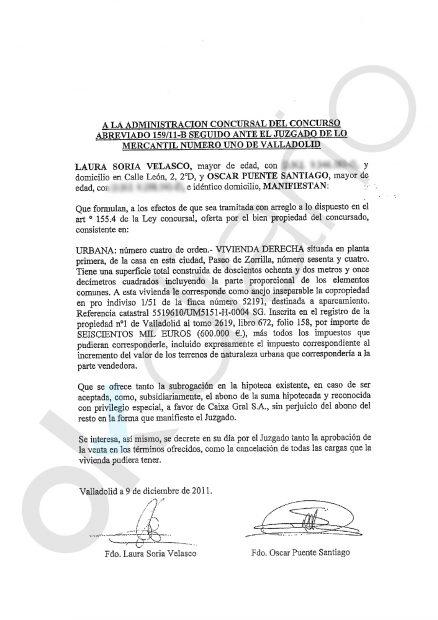 scrito de Puente y su esposa con la oferta de 600.000 euros en diciembre de 2011.