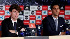 Álvaro Odriozola y Álvaro Arbeloa, en la presentación del primero con el Real Madrid.
