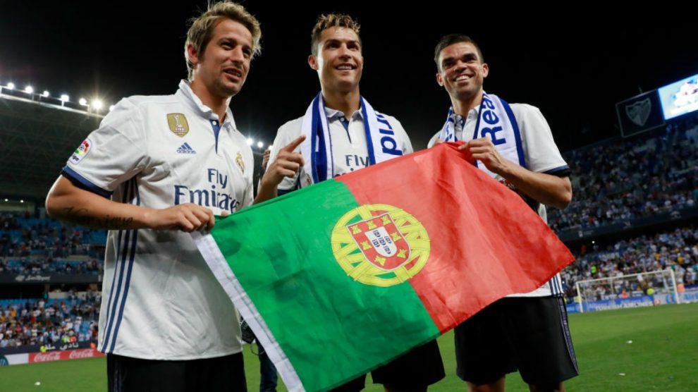 Coentrao, Cristiano y Pepe, tres de los exponentes del clan portugués. (Getty Images)