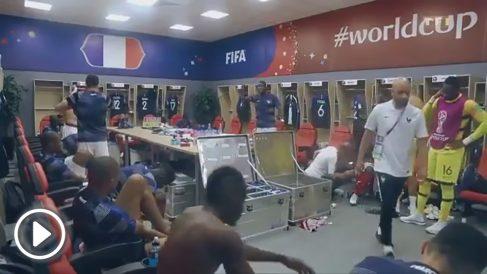 Paul Pogba, durante la arenga a sus compañeros en el Francia – Argentina del Mundial 2018.
