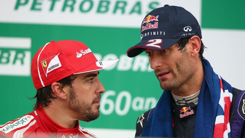 Fernando Alonso y Mark Webber. (Getty)