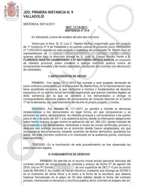 Sentencia a favor de M. M. para recuperar el dinero del contrato en arras