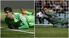 Courtois y Keylor durante la temporada pasada con Chelsea y Real Madrid. (Fotos: Getty Images)