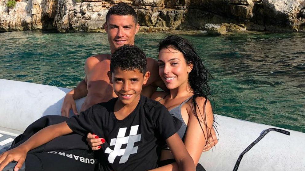 Cristiano, junto a su familia, de vacaciones.