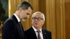 El Rey Felipe VI y Jean-Claude Juncker, en Zarzuela. (EFE)