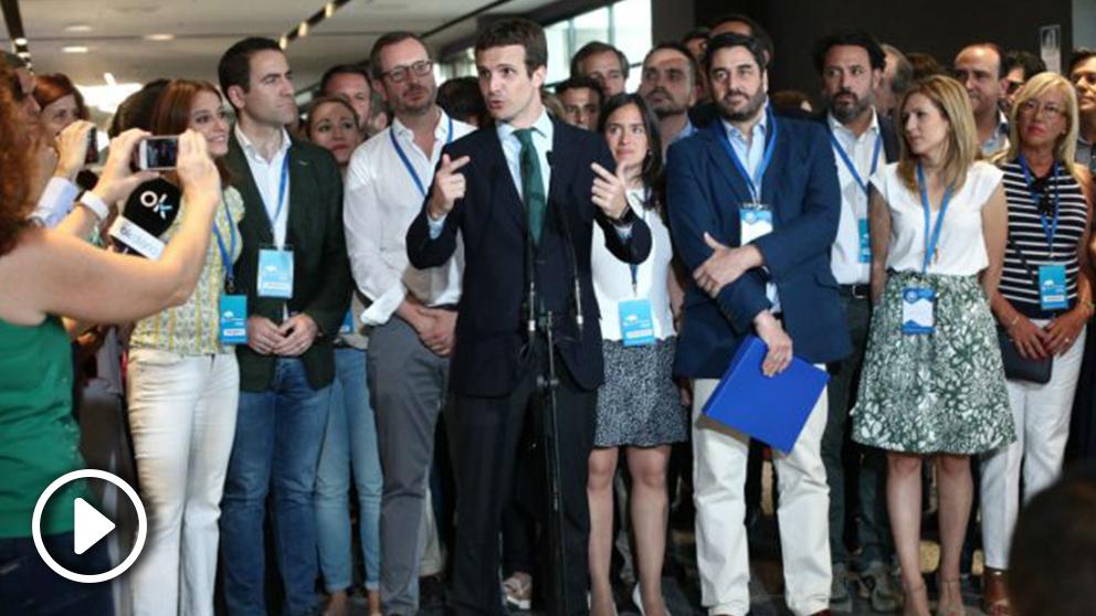 Pablo Casado a su llegada al Congreso del PP. Foto: Europa Press