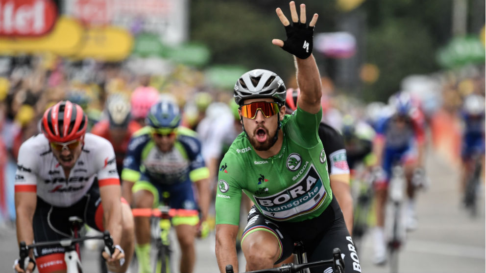 Peter Sagan celebra su victoria en la etapa 13 del Tour de Francia.
