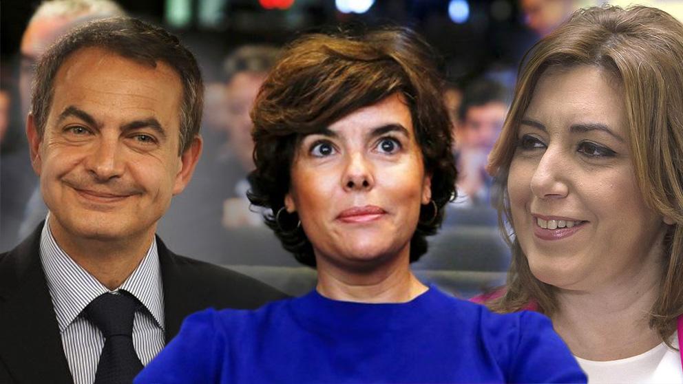 José Luis Rodríguez Zapatero, Soraya Sáenz de Santamaría y Susana Díaz