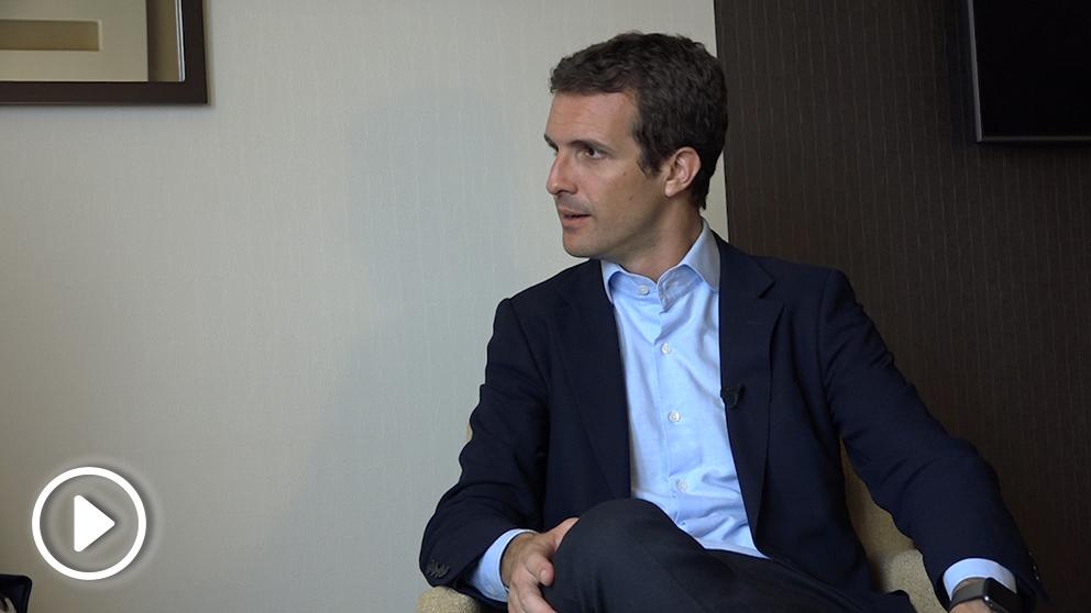 Pablo Casado durante la entrevista en exclusiva a OKDIARIO.