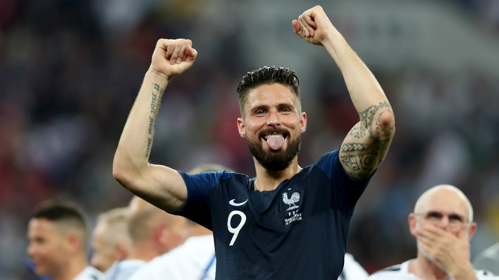 Giroud celebra el triunfo de Francia en el Mundial. (Getty)